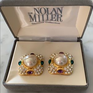 Vintage unused Nolan Miller Glam clip earrings